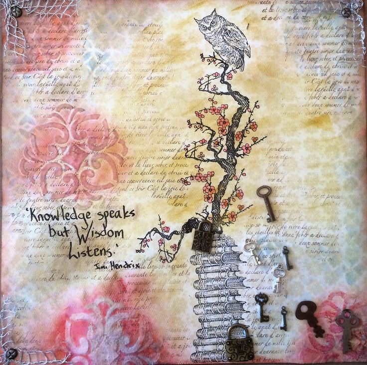 """Barbs Mey The Craftroom Mixed Media Collage """"Wisdom Listens"""""""