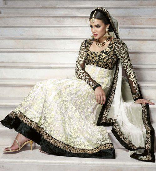 Designer White and Black Lace Anarkali