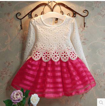 Baby Dress Girls 2-12 años vestidos 2015 de la muchacha del algodón de alta…