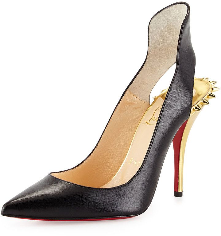 Christian Louboutin Survivita Leather Spike Red Sole Pump, Black/Gold on shopstyle.com