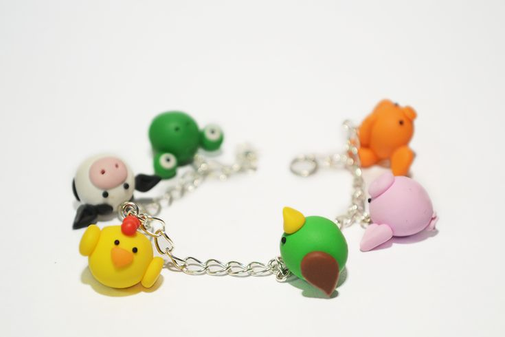 Polymer Clay Gallery | Polymer Clay Animals Charm Bracelet by ~Linnypig on deviantART
