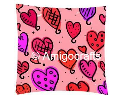 Multicolor Heart Printed Cushion Cover& Cushion Fillers