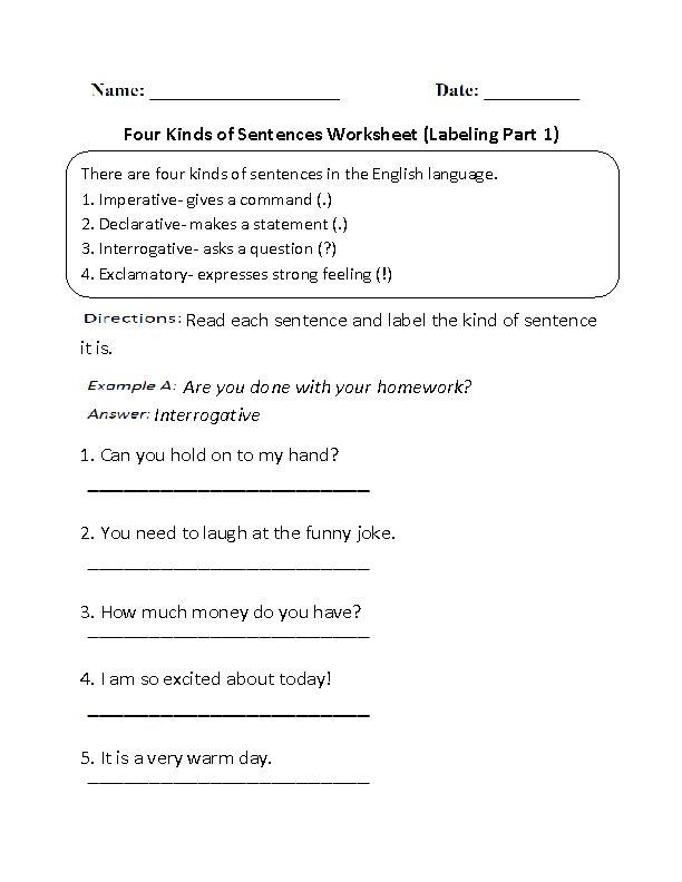 best kinds of sentences ideas types of  labeling four kinds of sentences worksheet