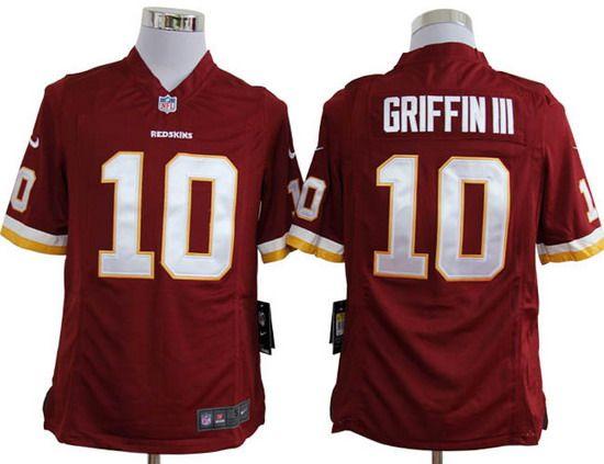 Nike Redskins #10 Robert Griffin III Red Team Color Mens NFL Game Jersey