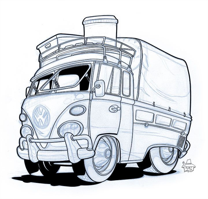 Vw Tshirt Drawing Cartoon Car Show With Images Car Drawings