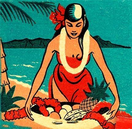 Aloha Room Matchbook PRINT Hawaiian girl Beach Luau Tiki Decor by MatchbookMemories, $15.00
