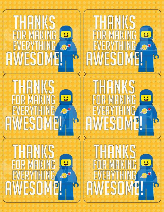 Lego Thank You Labels 6-per sheet... PICK YOUR OWN Character! on Etsy, $5.00