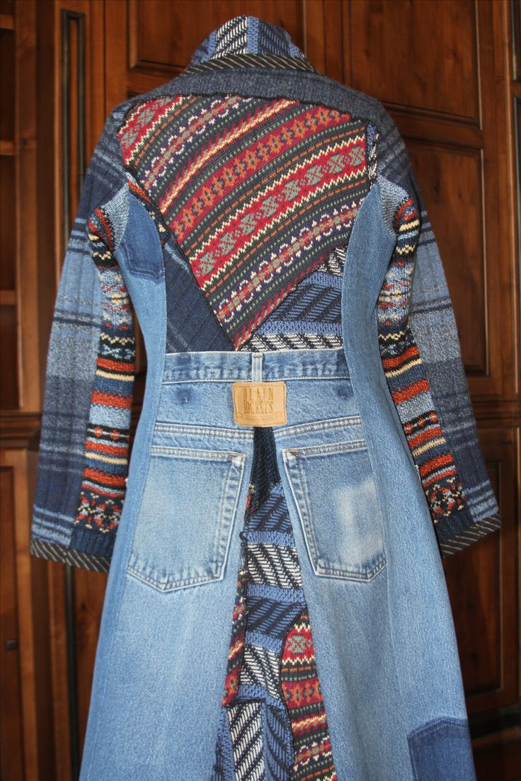 "This could be the basis for an interesting Joseph jacket for ""Joseph and the Amazing Technicolor Dreamcoat,"" also could be an unusual basis for show concept. (Recycled Sweaters and Denim Jeans)"