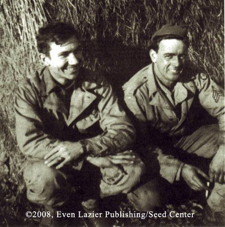 Memories of war: Corporal Thaddeus S. Golas (age 20) with Supply Sargent Henry L. Jespersen III in Cornwall, UK.
