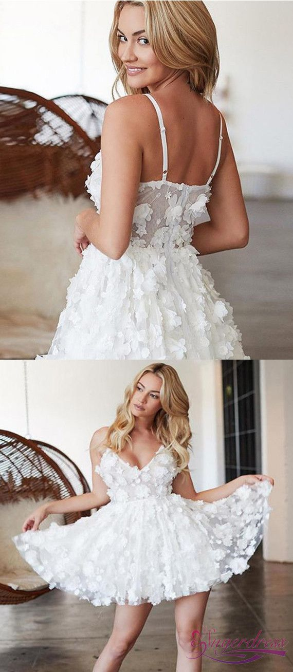 $146 Spaghetti Straps Appliques White Homecoming Dress – WOW Event Planning