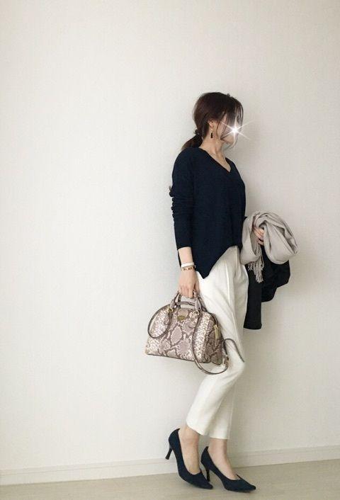 【coordinate】シンプルコーデに柄バッグ投入 の画像|Umy's プチプラmixで大人のキレイめファッション