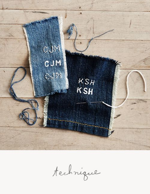 image: Anthropologie Monograms, Denim Stitches, Monograms Jeans, Diy Denim Monograms, Monograms Happy, Fancy Stitches, Monograms Denim, Denim Diy