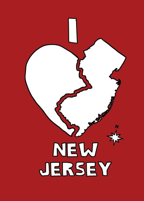 I love New Jersey - see more artwork t-shirts at www.etsy.com/shop/linedraw and more things to do in New Jersey at www.discoveramerica.com. ©linedraw