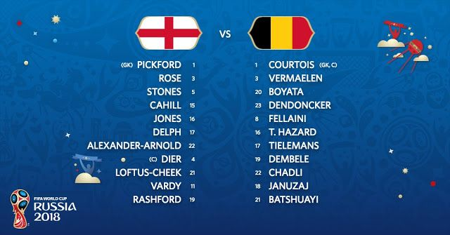 Starting Lineup England Vs Belgium Live Stream Fifa World Cup Fifa World Cup Match