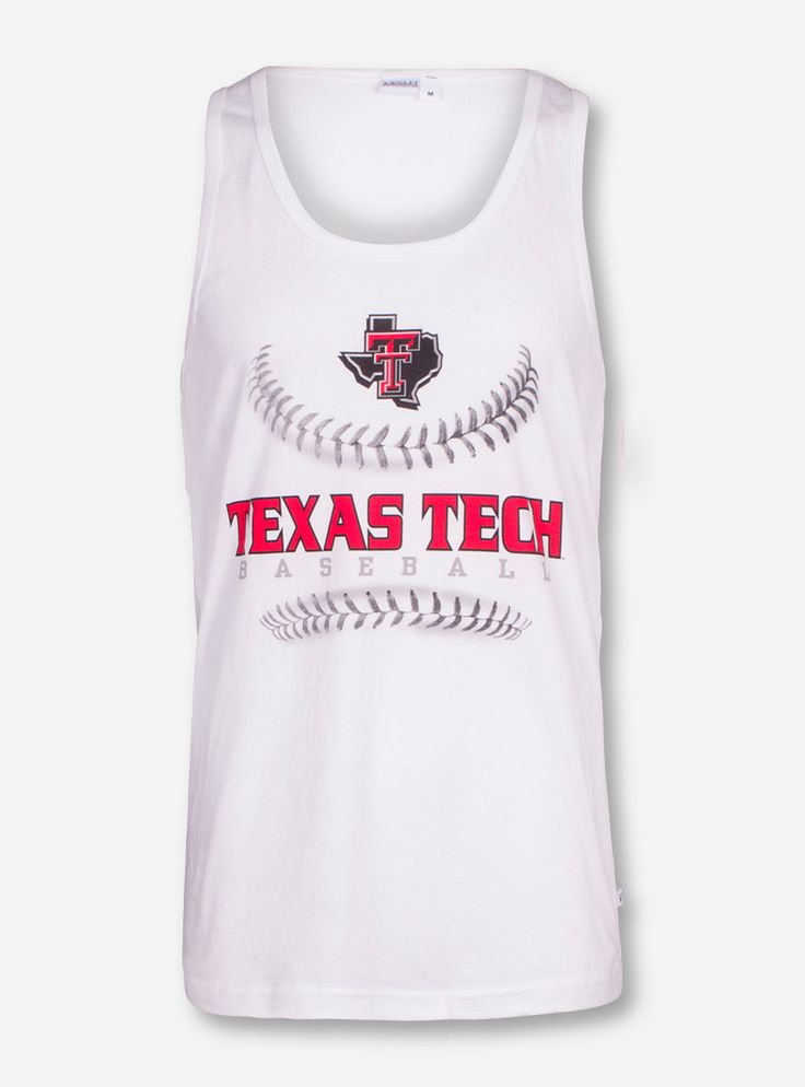 Texas Tech Red Raiders Baseball Laces on White Tank Top