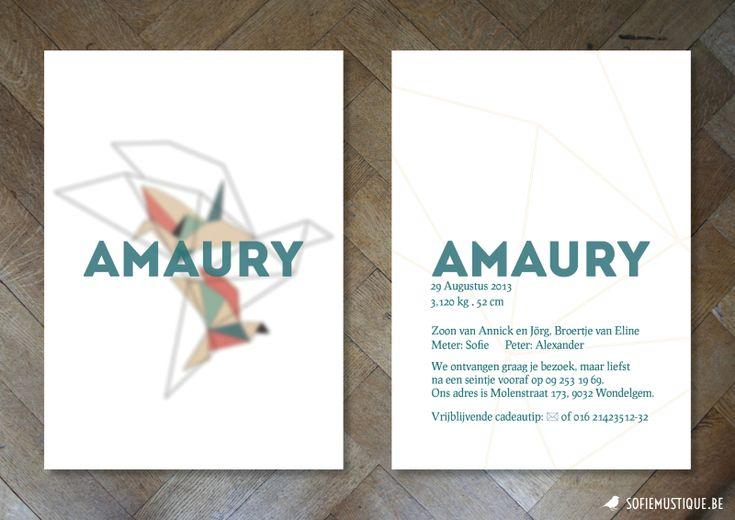 Origami Crane Birth Announcement Card Baby Boy | Origami kraanvogel geboortekaartje jongen - sofiemustique.be