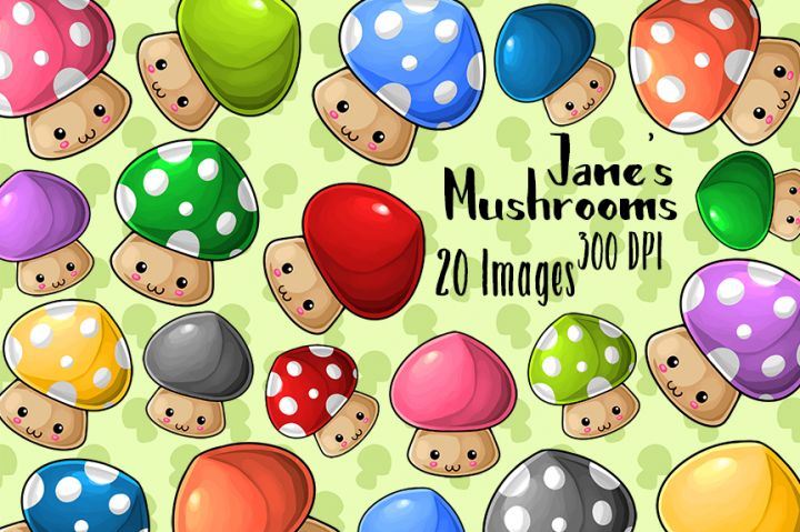 Kawaii Mushrooms Clipart By Digitalartsi
