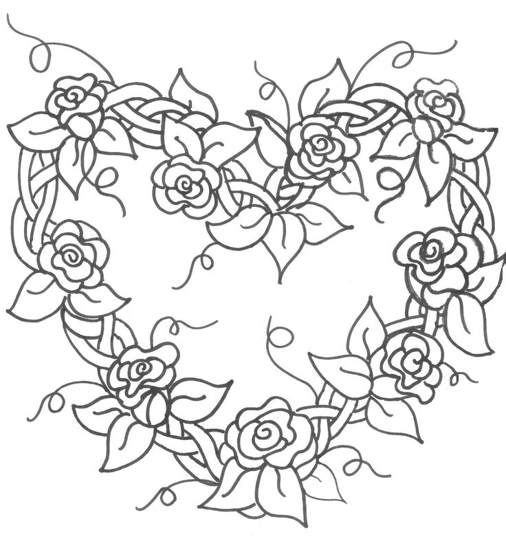 grapevine wreath with flowers embroidery pattern - Coloring Pages Hearts Flowers