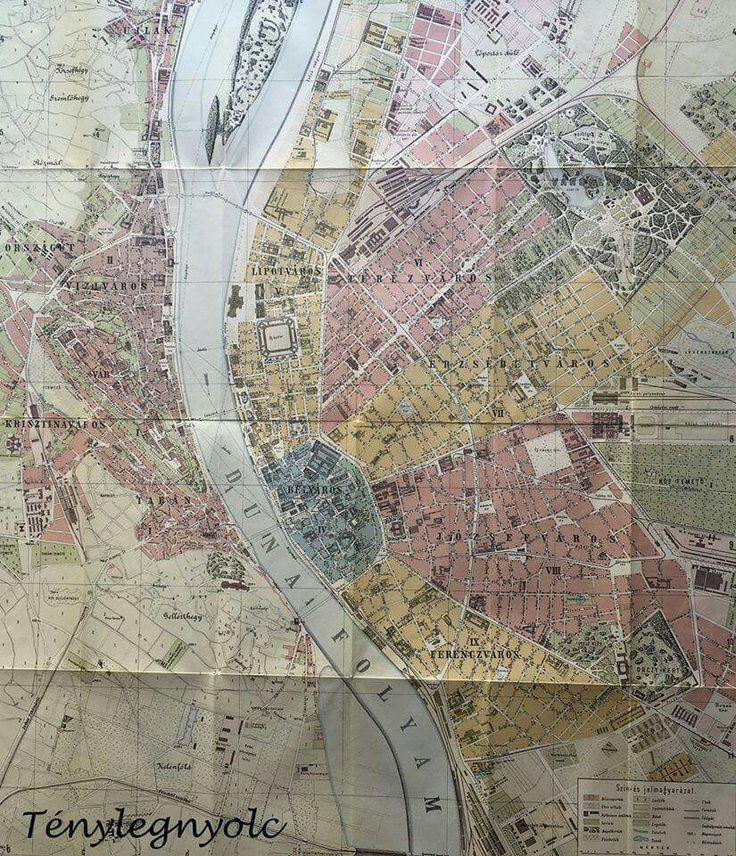 """Budapest térkép 1896-ból, """"a házszámok megjelölésével, az utczák és terek betürendes jegyzékével"""", anno Homolka József készítette"""