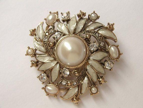 Antique wedding brooch, vintage 1930s Monet jewelry, antique jewelry, faux pearl brooch, wedding jewelry