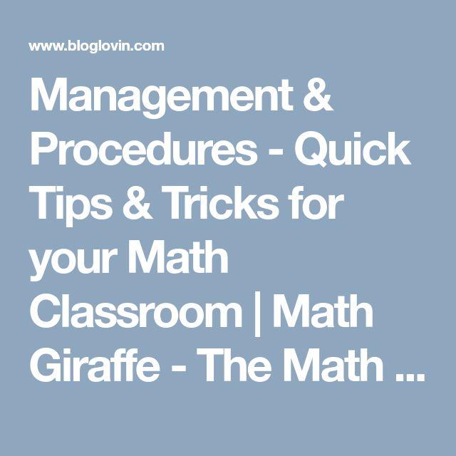 Management & Procedures - Quick Tips & Tricks for your Math Classroom | Math Giraffe - The Math Classroom: Blog | Bloglovin'