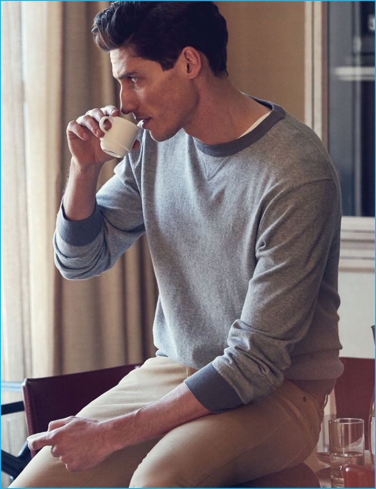 Ryan Kennedy enjoys a morning expresso in casual fashions from J.Hilburn.