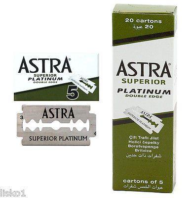 Astra Superior Platinum Double Edge Safety Razor Blades, 100 - Blades , pks of 5
