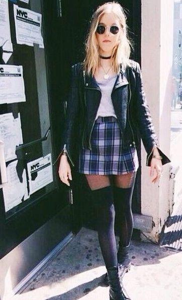 biker jacket. plaid mini skirt.