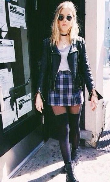 biker jacket. plaid mini skirt.