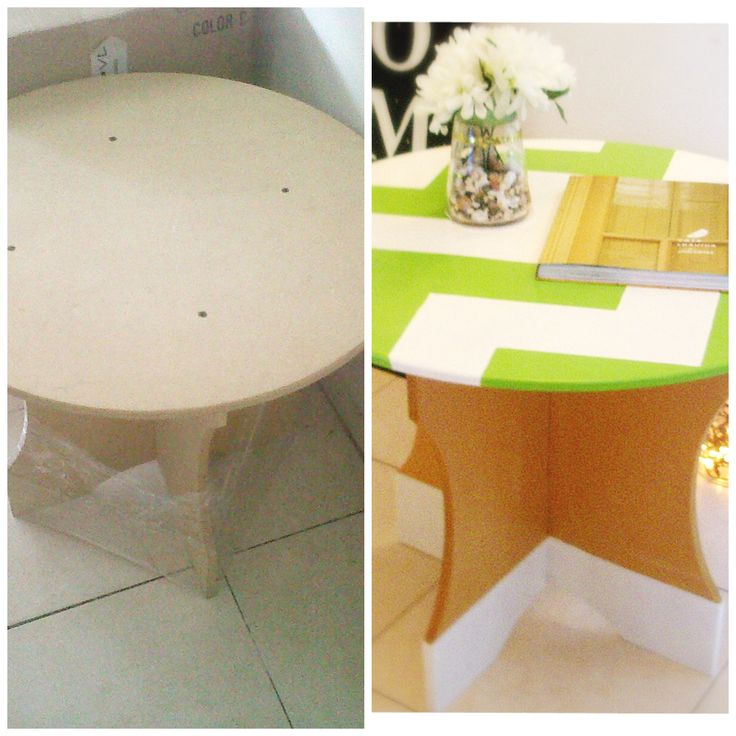 Antes y despues, mesa intervenida por @quieroalgobonito.com