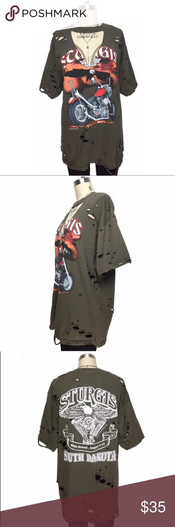 Vintage Distressed Sturgis Motorcycle Tee Excellent condition. As seen in photos. Color: Olive Tops Tees - Short Sleeve