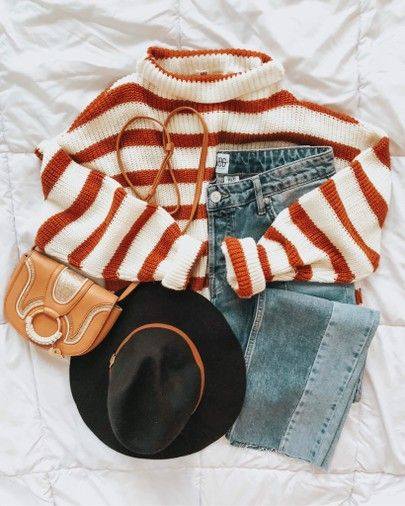 Winter Style | Striped Sweater | Black Panana Hat | Two-Tone Jeans | Chloe Bag |…