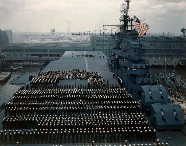 Commissioning of USS Yorktown (CV-10) on 15 April 1943.