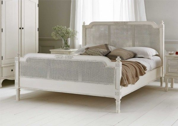Normandy rattan bed frame 599 classic and french White wicker bedroom furniture