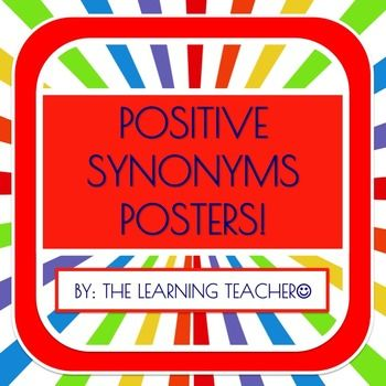 This is a set of five positive synonym posters for classroom motivation. These posters include synonyms of:*Smart*Hard-working*Nice*Special*HappyGreat to hang in the classroom for daily motivation while reinforcing synonyms. This set includes a B&W and color set of posters.