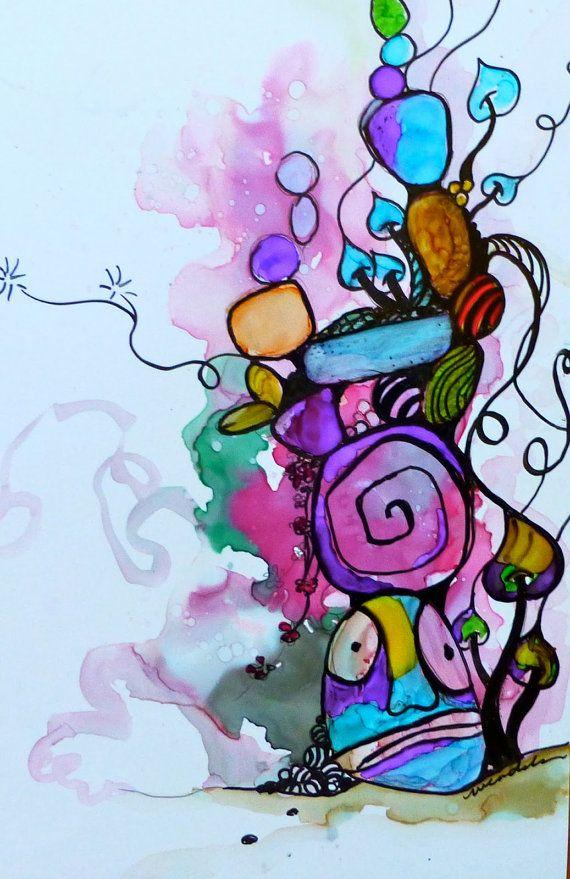Totem.  Alcohol Inks. Yupo Paper Wendy by AlcoholInksWendy on Etsy, $28.00