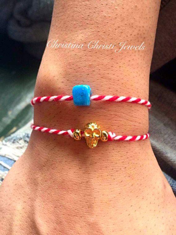March Men's Bracelet, Spring Men's Bracelet, Red and White Bracelets, Greek Bracelets, Friendship Bracelets, Made in Greece.