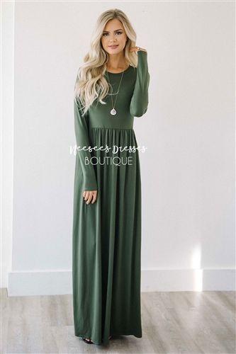 b9cbba1cd26 Olive Long Sleeve Modest Maxi Dress