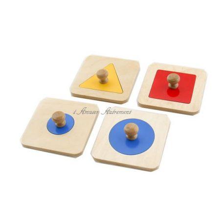 """montessori site de vente"""" 4 Puzzles simples d'encastrement conçus pour les plus jeunes avec de gros boutons de préhension pour les petites mains !"""