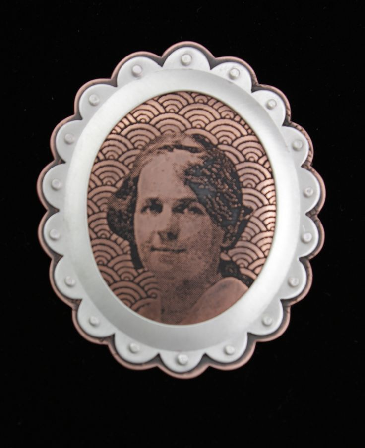 """""""Annine"""": etched copper, patina, sterling silver."""
