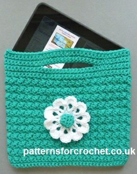 """With a finished size of approx 9"""" wide x 8"""", this crochet tablet bag pattern is suitable for Kindle, IPad, E-Reader, etc."""