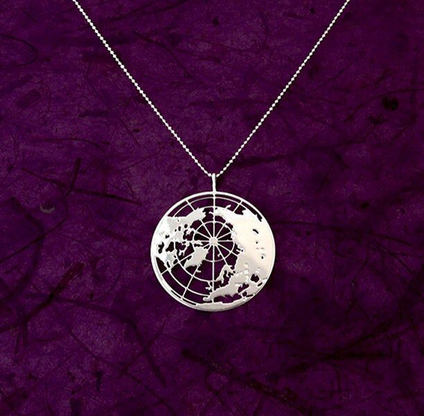 Globe Necklace Pendent 925 Sterling Silver Planet Necklace Earth Necklace