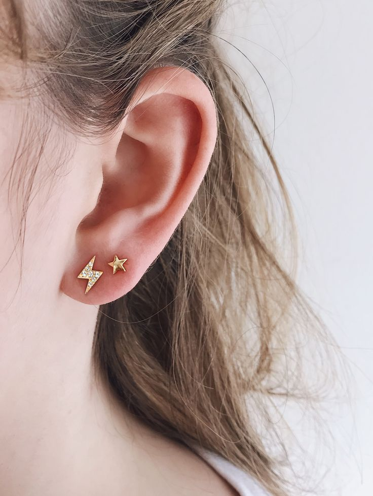 Lightning Bolt Pave Ear Stud With Tiny Gold Star Earring Great Everyday Earrings That Can Be Worn And Loved By Everyone Mix Diamond