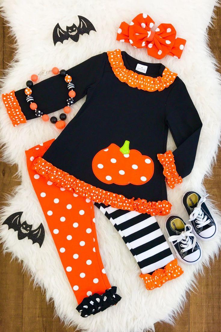 Orange Polka Dot Split Leg Pumpkin Outfit