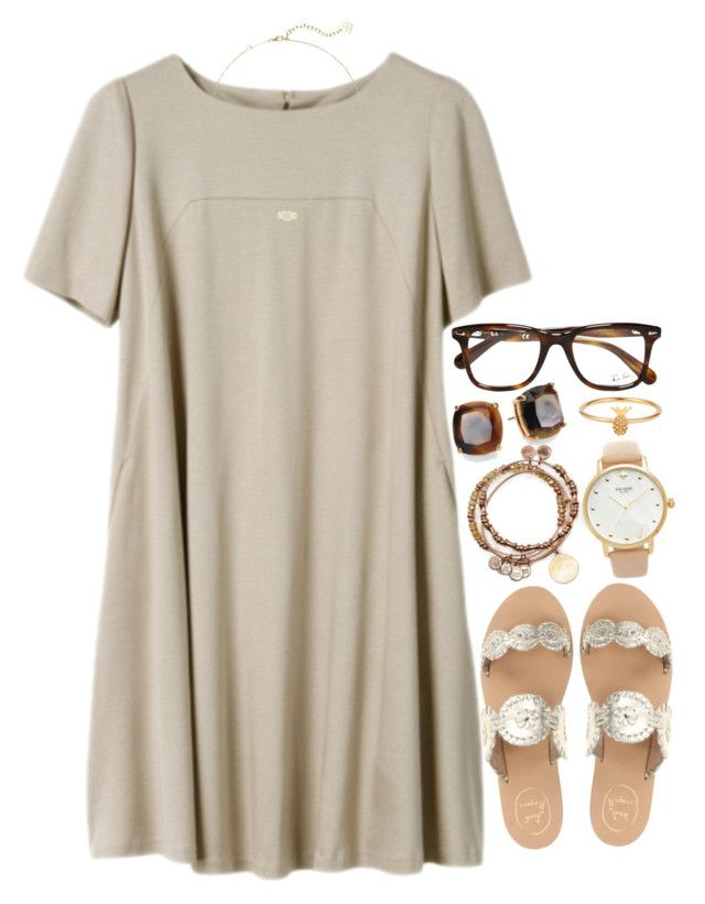 """""""neutral dress"""" by jordanawarren ❤ liked on Polyvore featuring Jack Rogers, Alex and Ani, Kate Spade, Ray-Ban, Lee Renee and Kendra Scott"""