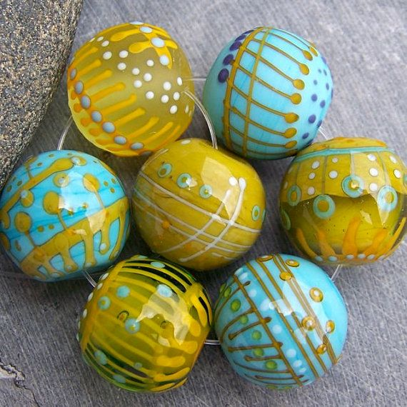 mrumru handmade lampwork glass bead set sra by