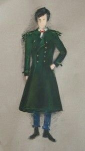 Coat design for the Eleventh Doctor (Matt Smith) 2010  Speculative design: a green, military-influenced overcoat for Matt Smith as the Doctor. Produced in association with a class at the University of Redlands - Designing for TV Science Fiction, May 2010