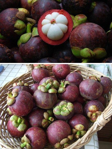 Ce fruit est le mangoustan, un fruit très sucré est délicieusement bon !  Attention à ne pas le manger avec du sucre car il pourrait vous empoisonner...