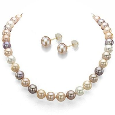 Necklaces,14k Yellow Gold 7-7.5mm Multi-pink Freshwater Cultured Pearl Necklace 18