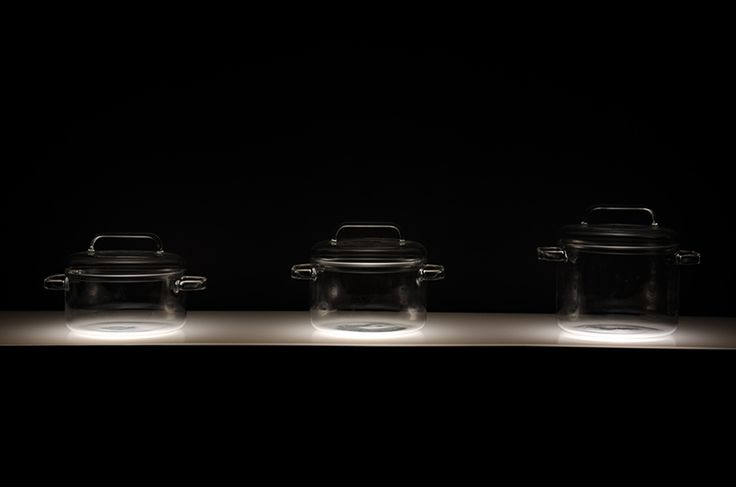 huy pham has created a set of transparent cooking pots made from technical glass